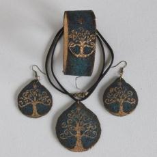 Arany-Életfa ékszer garnitúra: parafa-bőr kézzel festve